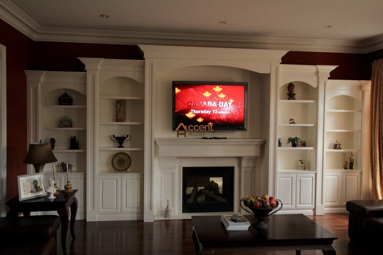 WALL ENTERTAINMENT UNITS | LIBRARY OFFICE MILLWORK - Accent Haus