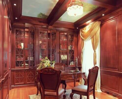 Modern wood paneled ceiling