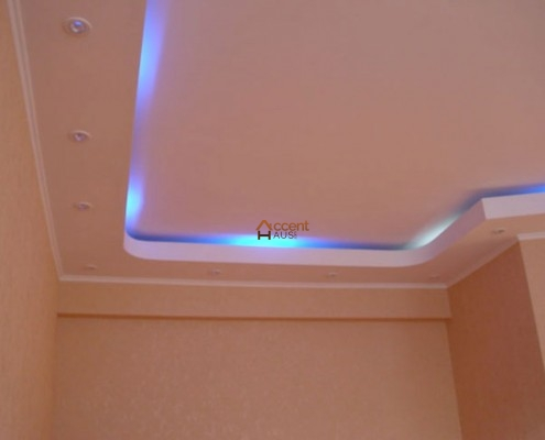 Patterned tray ceiling in a living room