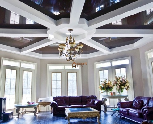 Circle designed beams ceiling for a living room