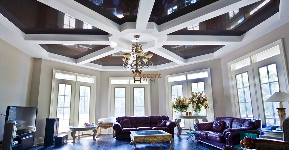 Coffered waffle ceiling beams ideas cost and pictures for Describe the mural on the ceiling of the stage