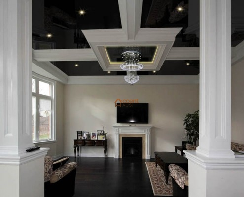 Square beamed ceiling style with lighting