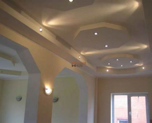 Bulkhead ceiling with LED lighting in a living room