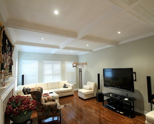 Living room waffle ceiling in a house