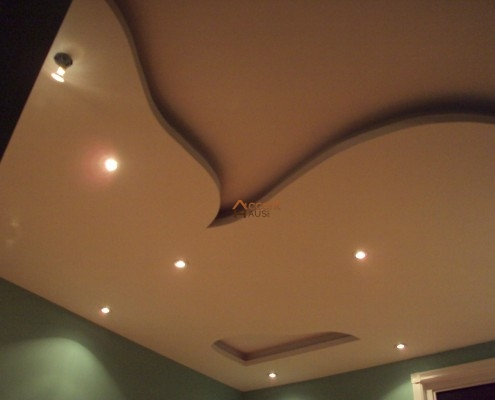 Traditional arched ceiling with decorative lighting