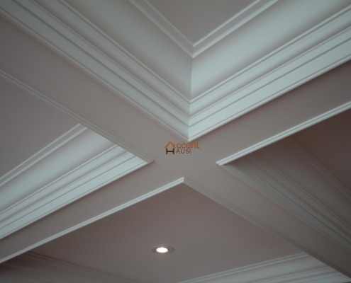 Recessed paneled waffle ceiling in a family room