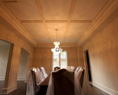 Box patterned flat ceiling for a dining room