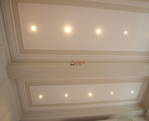 Waffle ceiling with potlights installed for a house Ajax