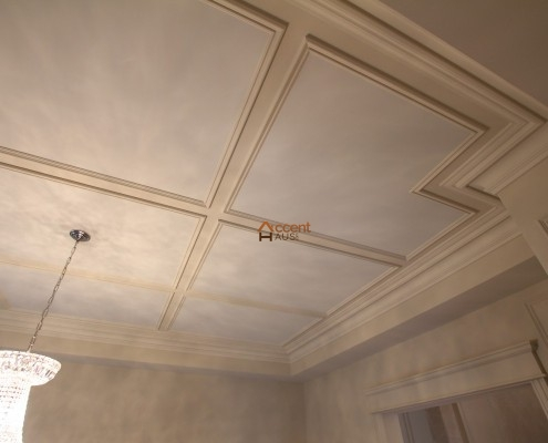 Waffle ceiling wainscoting installed