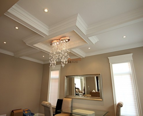 Waffle beamed ceiling installed for a family room