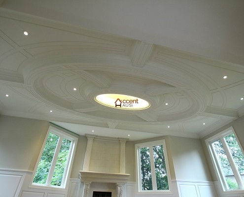 Light cove ceiling with moulding decorated for a home