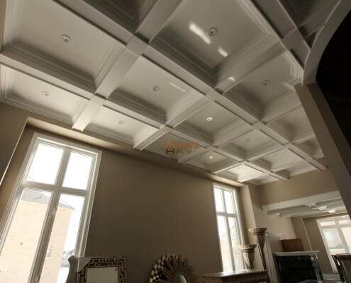 Box patterned waffle ceiling in a living room