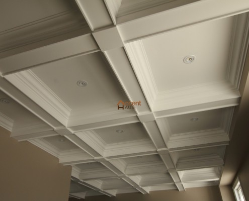 White shaded coffered ceiling installed for a modern home