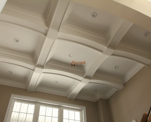 Family room waffle ceiling with recessed lighting