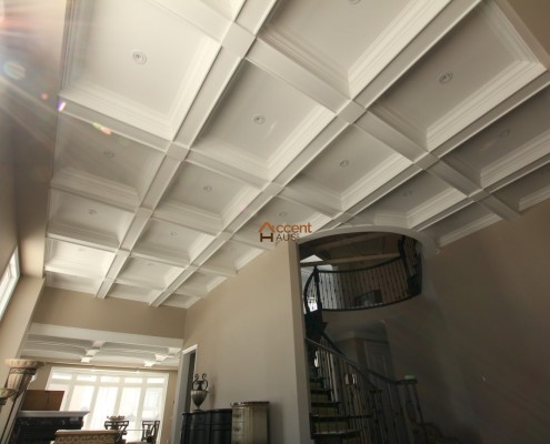 Waffle beams ceiling for a living room