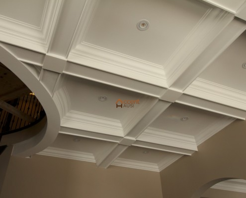 Arched paneled coffered ceiling