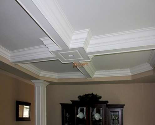 Beamed ceiling with moulding installed in a house Etobicoke