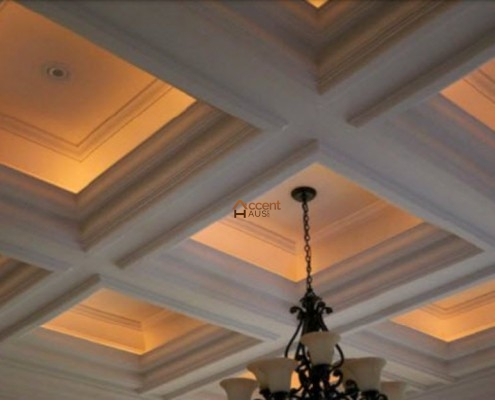 Light coved beam ceiling in a dining room Barrie