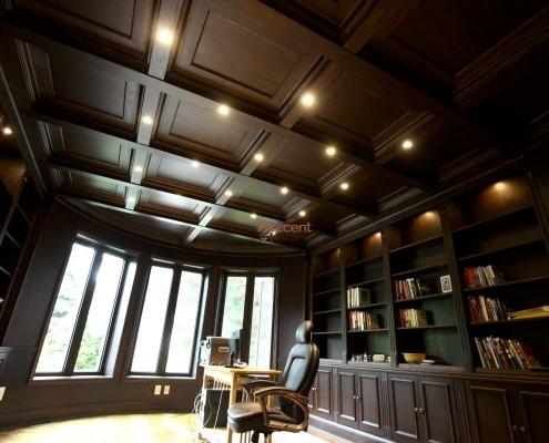 Wood paneled coffered ceiling designed