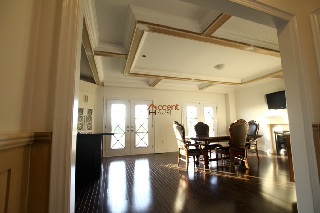 Coffered waffle ceiling beams ideas cost and pictures for Foam coffered ceiling