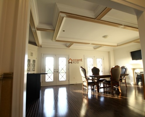Box waffle ceiling for a dining room