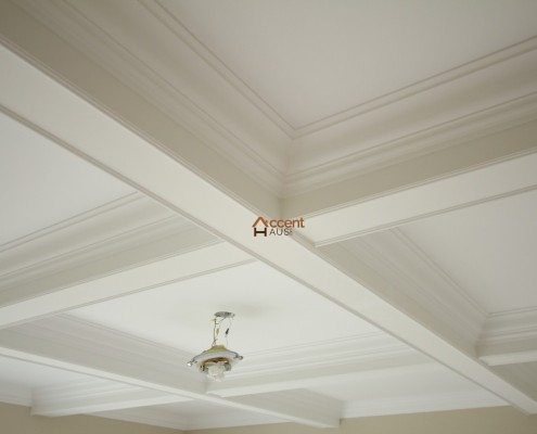 Waffle beamed ceiling decorated in a house