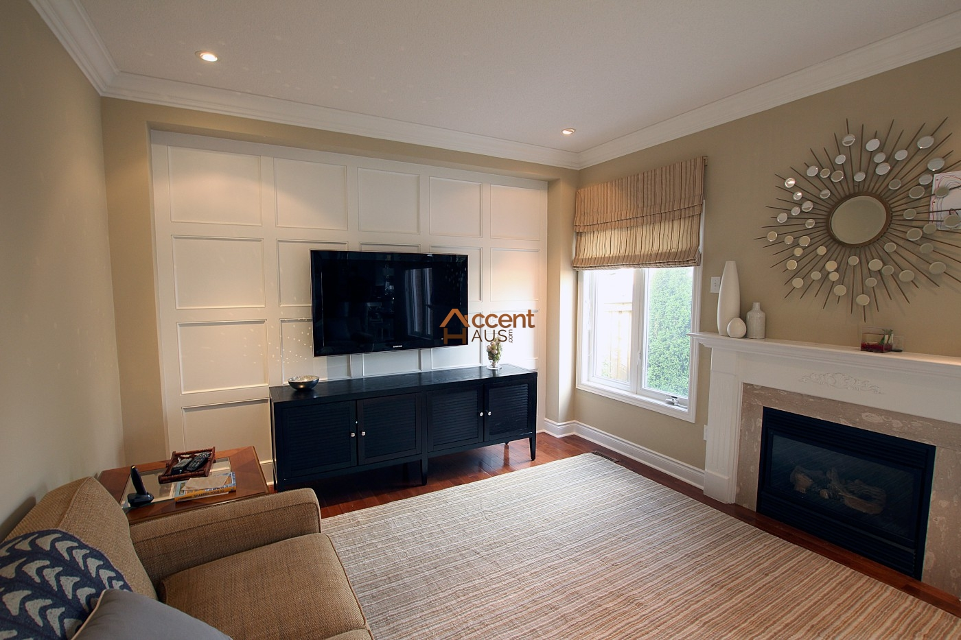 Wall paneling wainscoting accent haus custom interior millwork wainscoting coffered Wall panelling designs living room