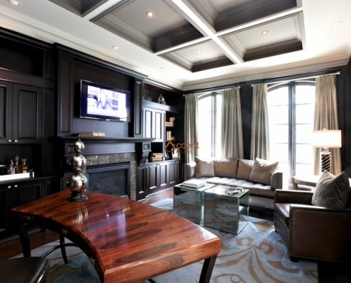 Black and white beams ceiling for a living room