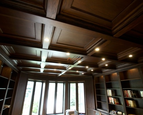 Wood paneled ceiling decorated for a home office