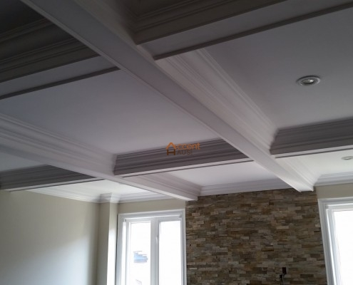 White shaded beams ceiling style
