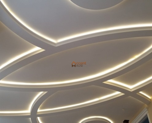 Decorative coffered ceiling for a living room