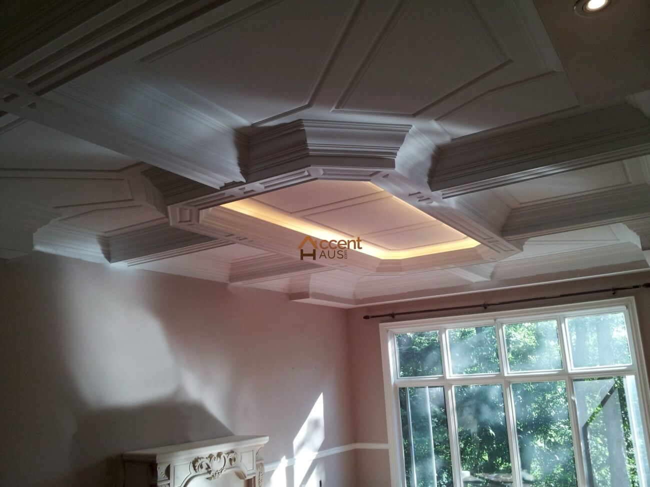 Octagon coffered ceiling with lighting