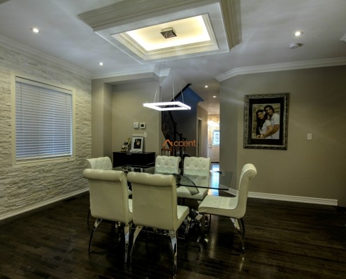 Square patterned classic ceiling with LED Cove lighting