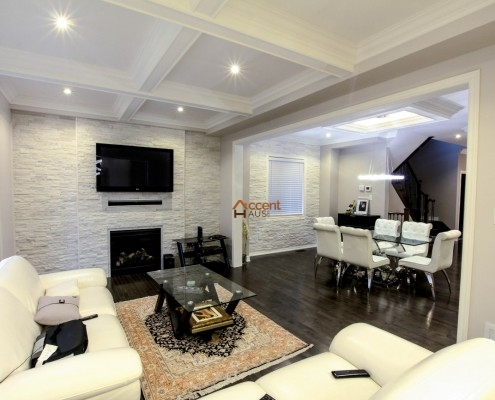Modern coffered ceiling with lighting